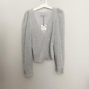Zara gray sequin blouse NEW